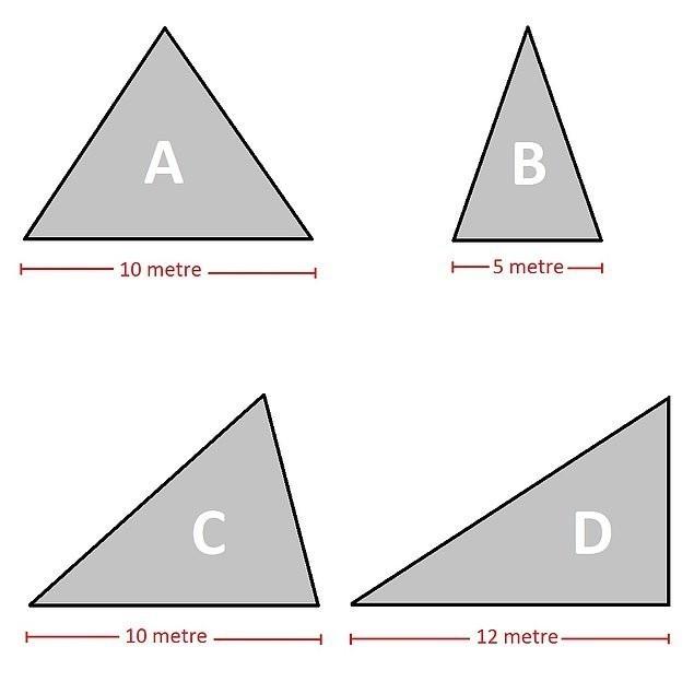 Geometri bilmeyen testi geçemez! Yükseklikleri aynı bu üçgenlerden hangisinin alanı daha büyüktür?